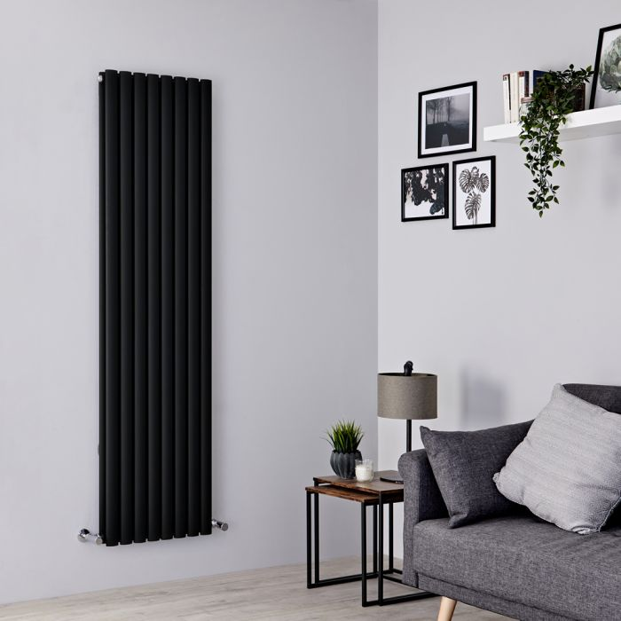 Milano Aruba - Black Vertical Designer Radiator 1780mm x 472mm (Double Panel)