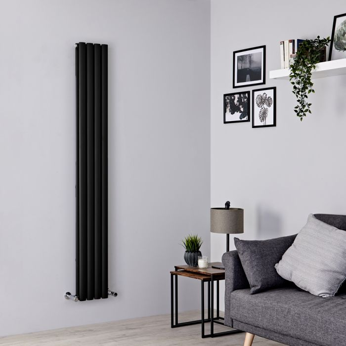 Milano Aruba Slim - Black Space-Saving Vertical Designer Radiator 1780mm x 236mm (Double Panel)