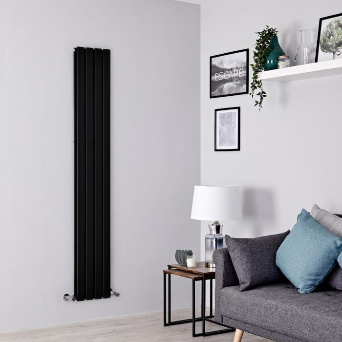 Milano Alpha - Black Vertical Double Designer Radiator 1780mm x 280mm