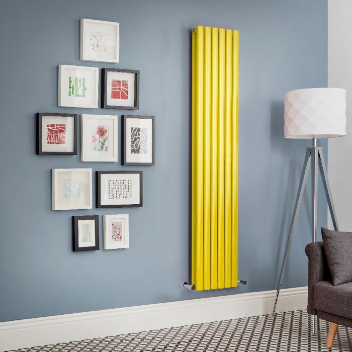 Milano Aruba - Yellow Vertical Double Panel Designer Radiator - Various Sizes