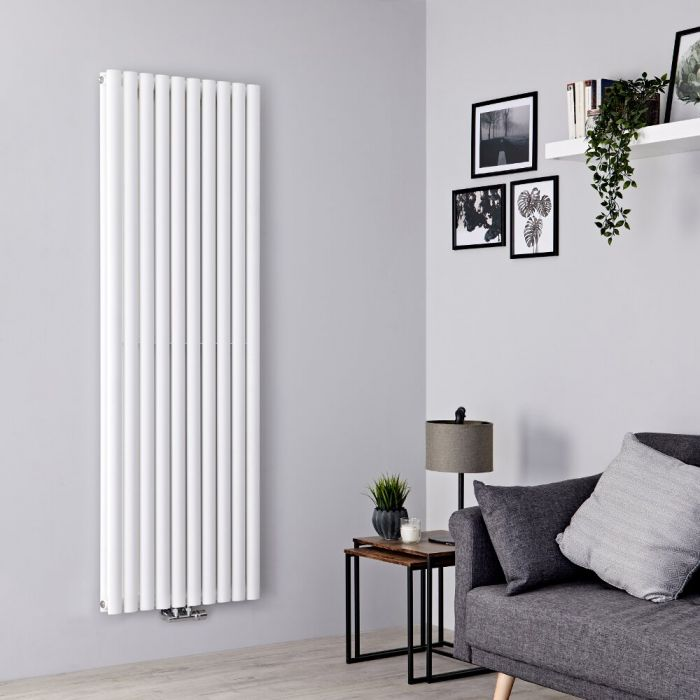 Milano Aruba Flow - White Double Panel Middle Connection Designer Vertical Radiator 1780mm x 590mm