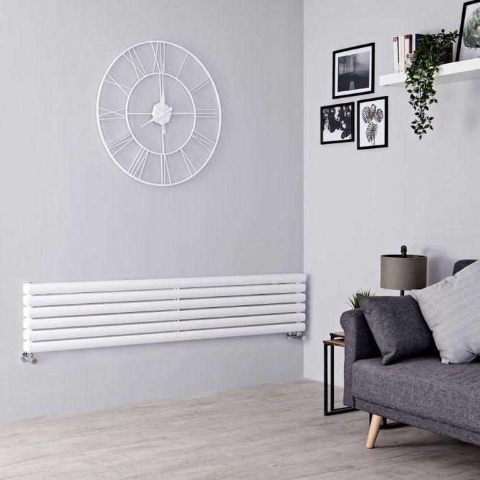 Milano Aruba - White Horizontal Designer Radiator 354mm x 1780mm (Double Panel)