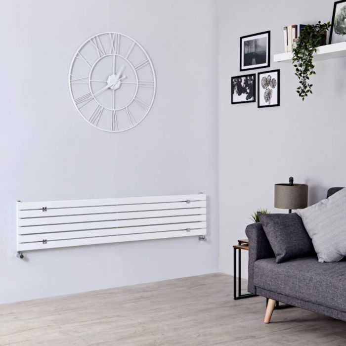 Milano Capri - White Horizontal Flat Panel Designer Radiator 354mm x 1780mm