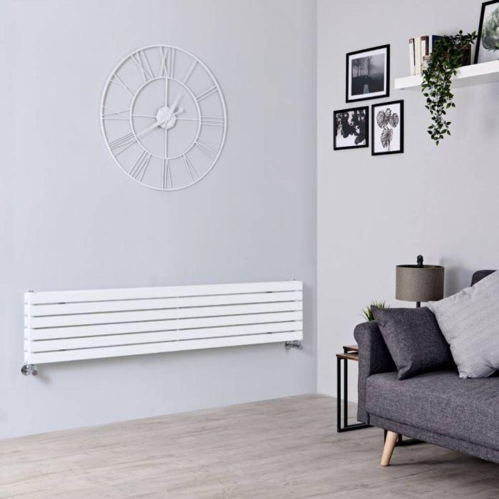 Milano Capri - White Horizontal Flat Panel Double Designer Radiator 354mm x 1780mm