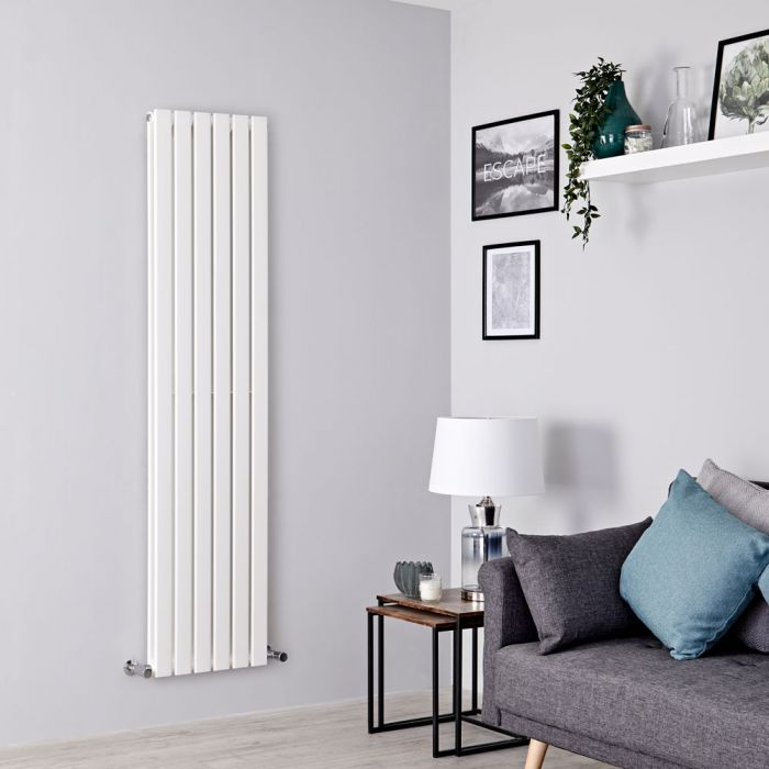 Milano Alpha - White Vertical Double Slim Panel Designer Radiator 1780mm x 420mm