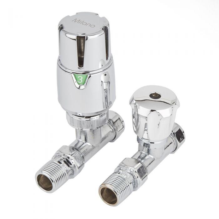 Milano - Thermostatic Chrome Straight Radiator Valves (Pair)