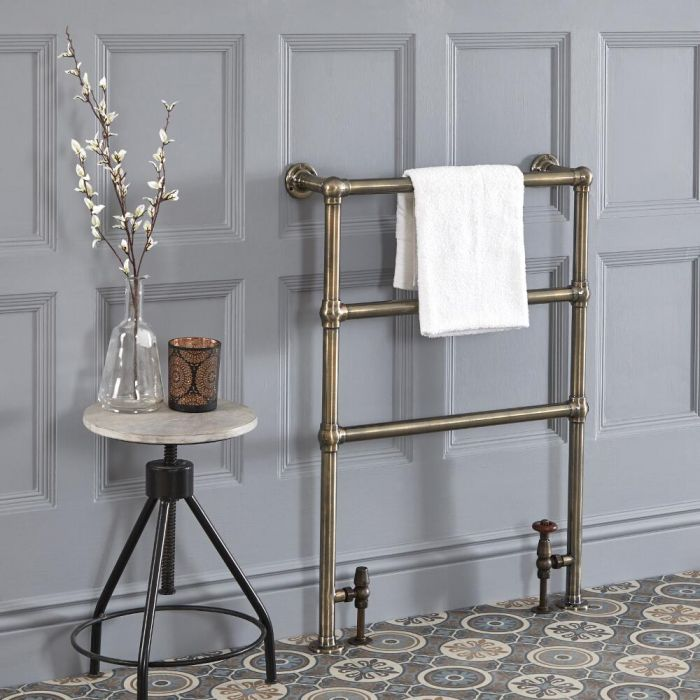 Milano Derwent - Traditional Minimalist Brushed Brass Heated Towel Rail - 966mm x 673mm