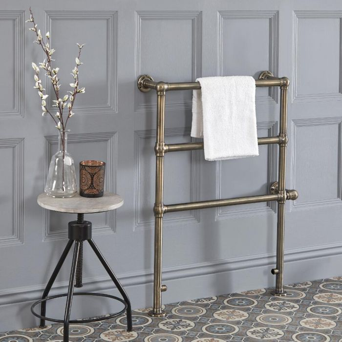 Milano Derwent - Traditional Brushed Brass Electric Heated Towel Rail - 966mm x 673mm