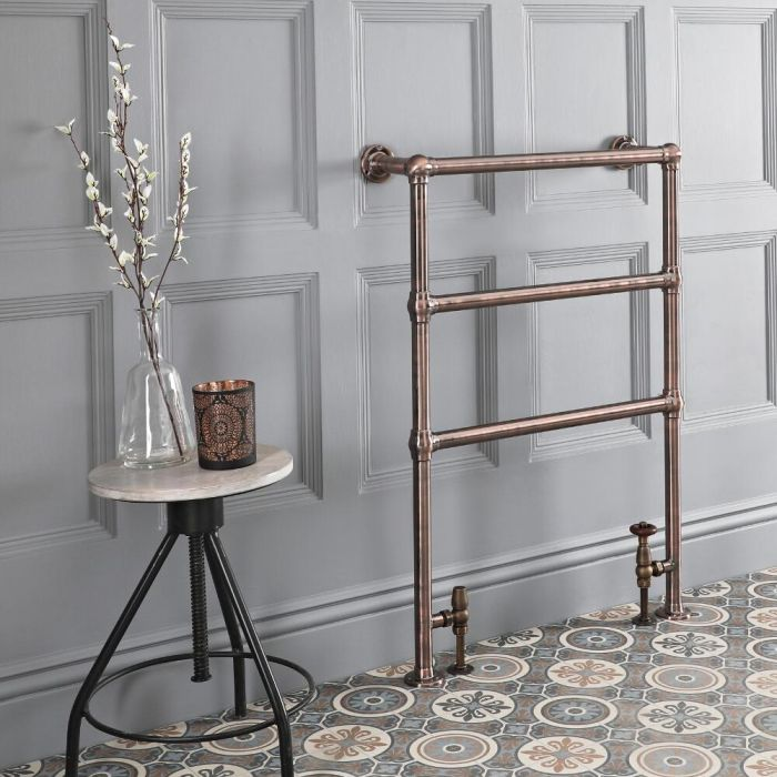 Milano Derwent - Traditional Minimalist Oil Rubbed Bronze Heated Towel Rail - 966mm x 673mm
