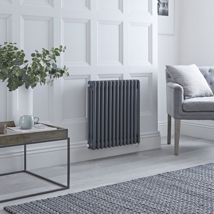 Milano Windsor - Traditional Anthracite 3 Column Electric Radiator 600mm x 605mm (Horizontal) - Choice of Wi-Fi Thermostat