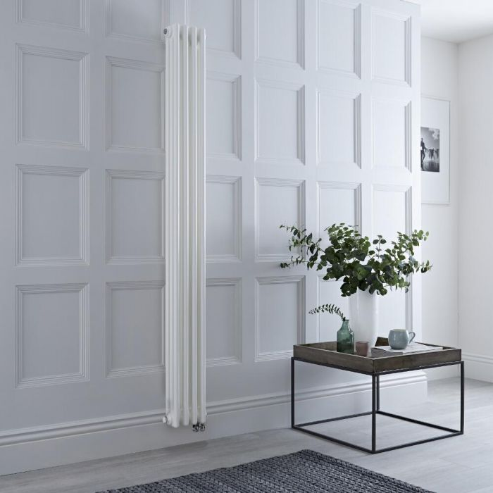 Milano Windsor - White Traditional Vertical Electric Triple Column Radiator - 1800mm x 200mm - Choice of Wi-Fi Thermostat