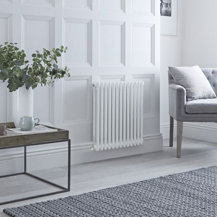 Milano Windsor - Traditional White 2 Column Electric Radiator 600mm x 605mm (Horizontal) - Choice of Wi-Fi Thermostat