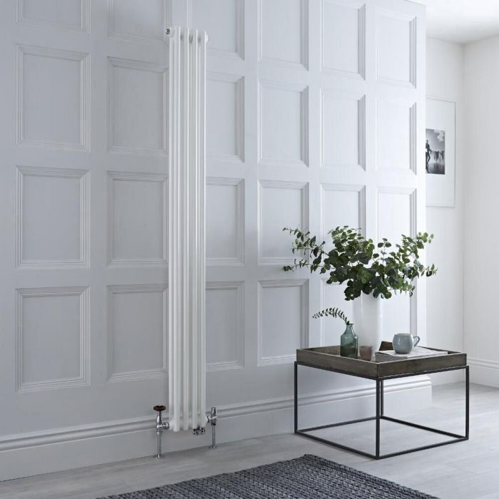 Milano Windsor - White Traditional Vertical Dual Fuel Double Column Radiator - 1500mm x 200mm - Choice of Valve and Wi-Fi Thermostat