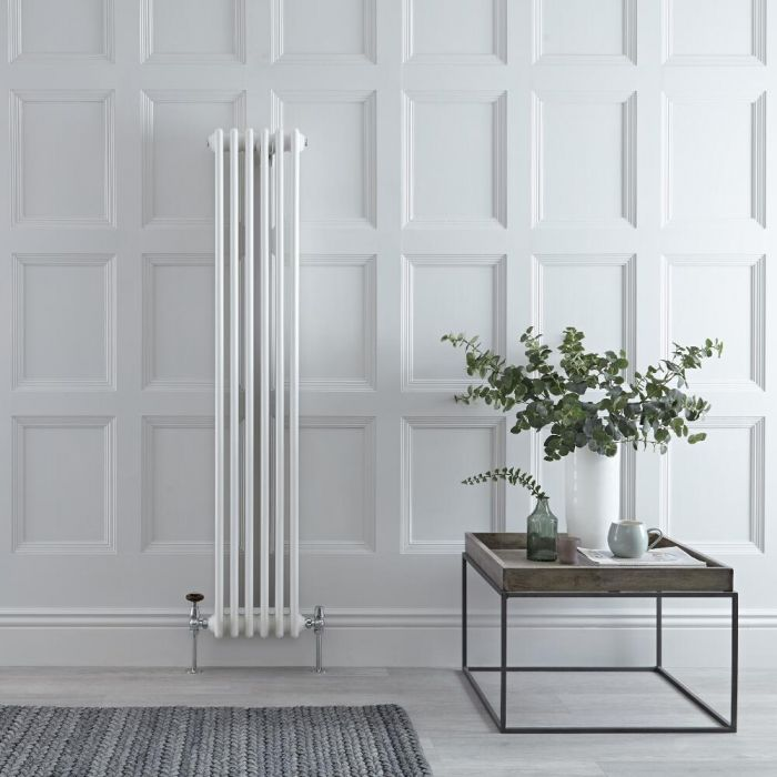 Milano Windsor - Vertical Double Column White Traditional Cast Iron Style Radiator - 1500mm x 290mm
