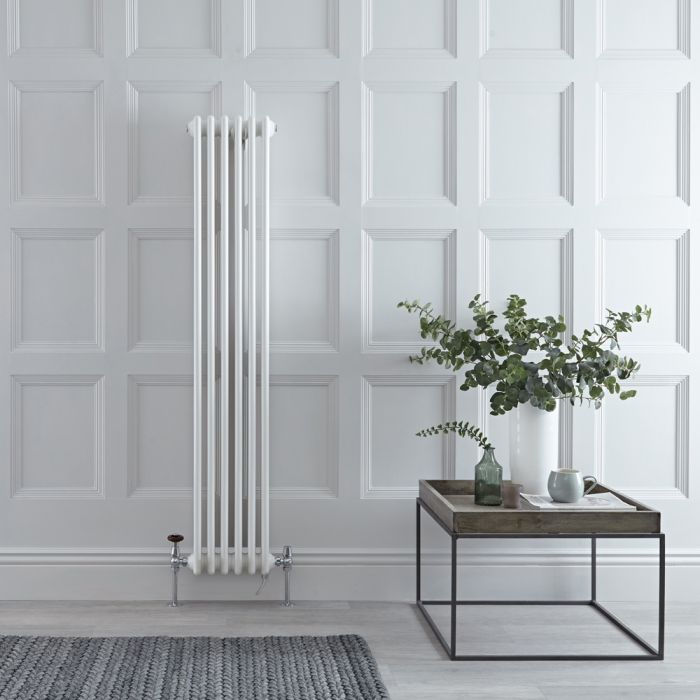Milano Windsor - White Traditional Vertical Dual Fuel Double Column Radiator - 1500mm x 290mm - Choice of Valve and Wi-Fi Thermostat