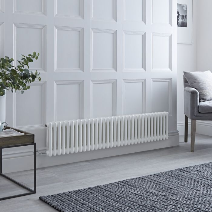 Milano Windsor - Traditional 33 x 2 Column Electric Radiator Cast Iron Style White 300mm x 1505mm - Choice of Wi-Fi Thermostat