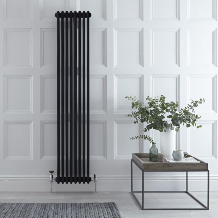 Milano Windsor - Vertical Triple Column Black Traditional Cast Iron Style Radiator - 1800mm x 382mm