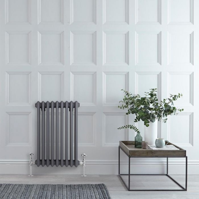 Milano Windsor - Horizontal Triple Column Anthracite Traditional Cast Iron Style Radiator - 600mm x 425mm