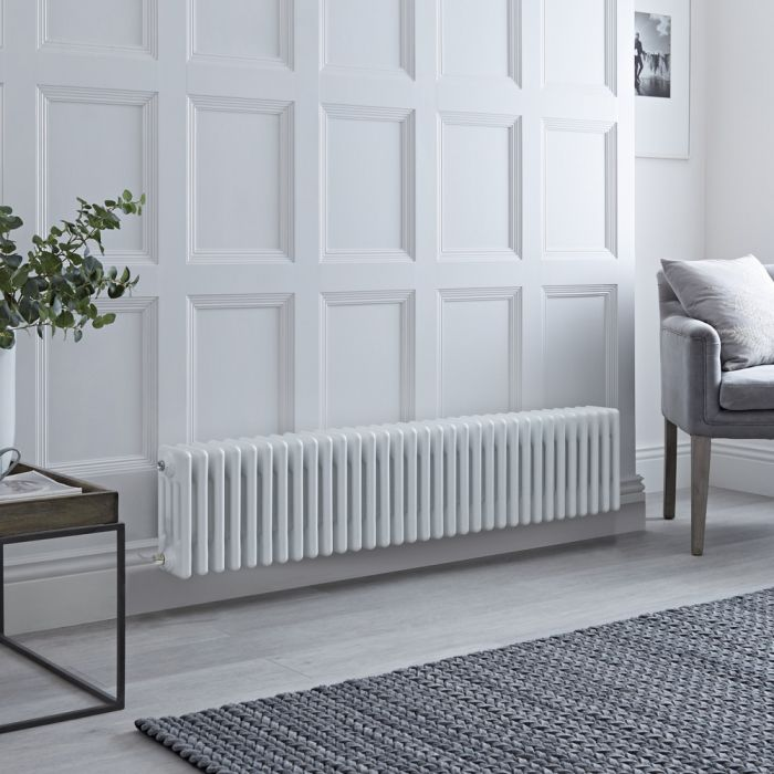 Milano Windsor - Traditional White 4 Column Electric Radiator 300mm x 1505mm (Horizontal) - Choice of Wi-Fi Thermostat