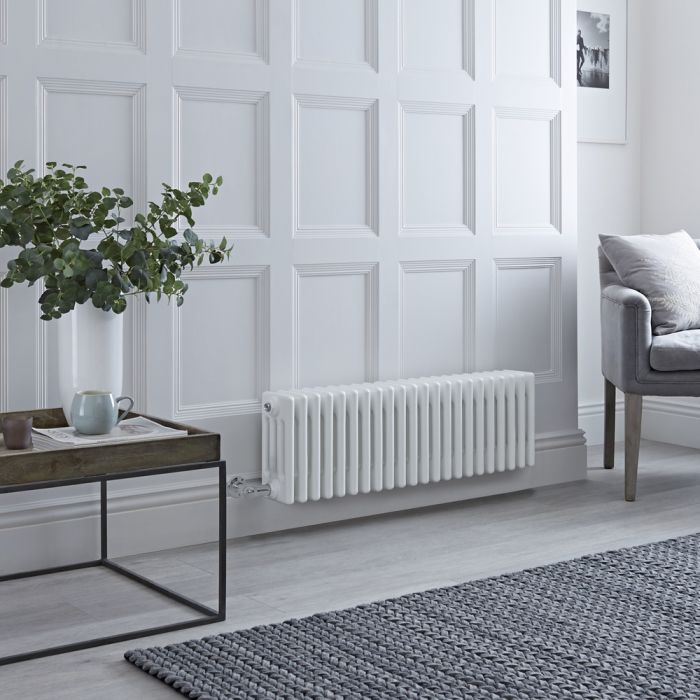 Milano Windsor - Traditional White 4 Column Electric Radiator 300mm x 1010mm (Horizontal) - Choice of Wi-Fi Thermostat