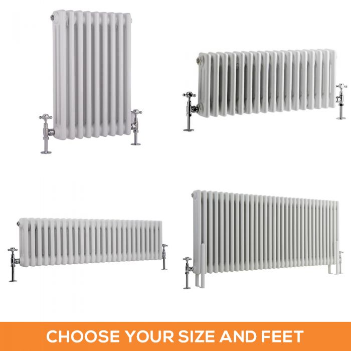 Milano Windsor - White Traditional Horizontal Triple Column Radiator - Choice of Size and Feet