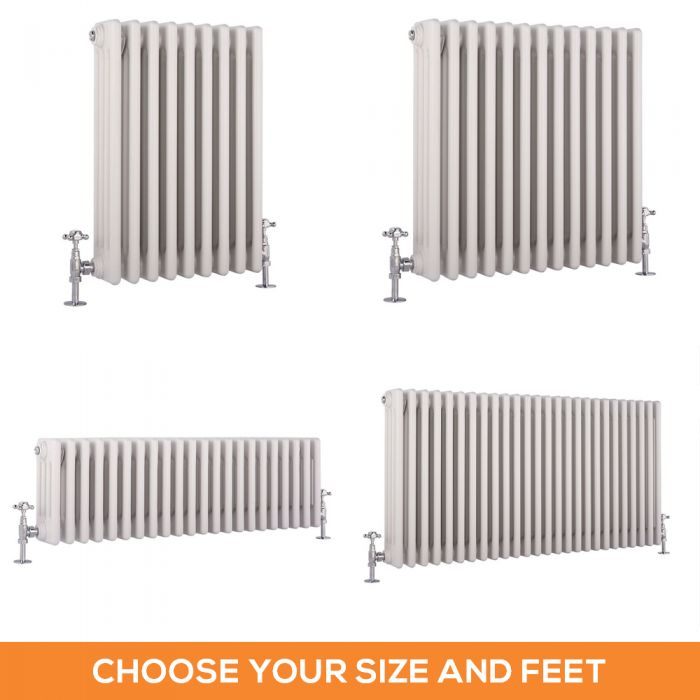 Milano Windsor - White Traditional Horizontal Four Column Radiator - Choice of Size and Feet