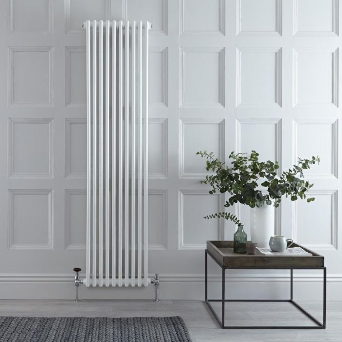 Milano Windsor - Vertical Triple Column White Traditional Cast Iron Style Radiator - 1800mm x 470mm