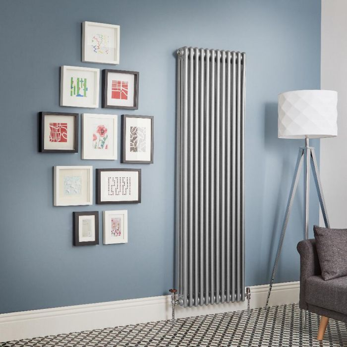 Milano Windsor - Metallic Silver Vertical Traditional Column Radiator (Triple Column) - Various Sizes