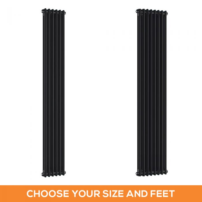 Milano Windsor - Black 1800mm Traditional Vertical Double Column Radiator - Choice of Size and Feet
