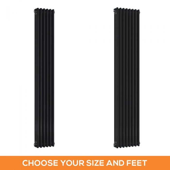 Milano Windsor - Black 1800mm Traditional Vertical Triple Column Radiator - Choice of Size and Feet