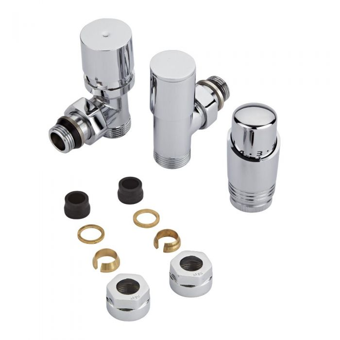 Milano - Chrome Radiator Valve with Chrome TRV & 15mm Copper Adapters