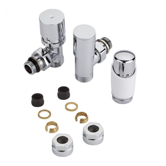 Milano - Chrome Radiator Valve with White TRV & 15mm Copper Adapters