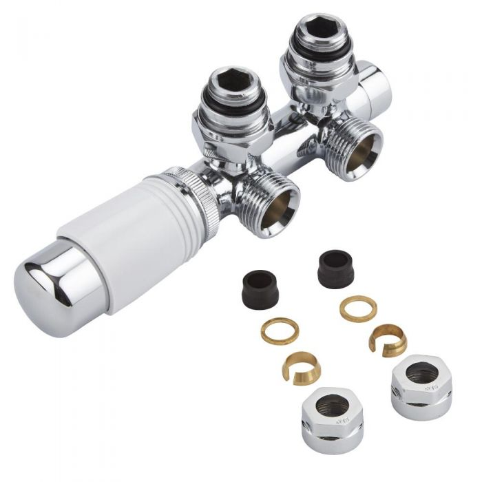 Milano - Chrome H Block Angled Valve with White TRV Head & 15mm Copper Adapters