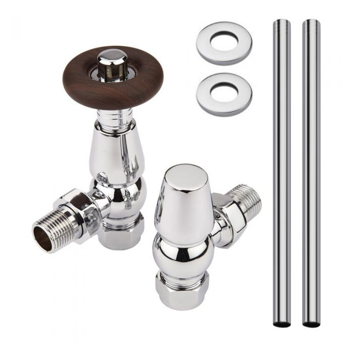 Milano Windsor - Traditional Thermostatic Angled Radiator Valve and Pipe Set Chrome