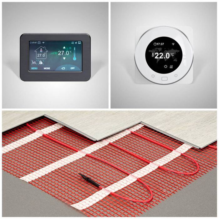 Milano - Electric Underfloor Heating Mat Kit - Various Sizes and WiFi Thermostat Option