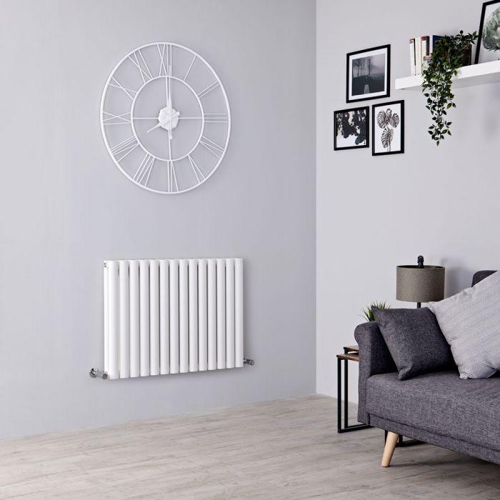 Milano Aruba - Modern White Horizontal Designer Radiator 600mm x 826mm (Double Panel)