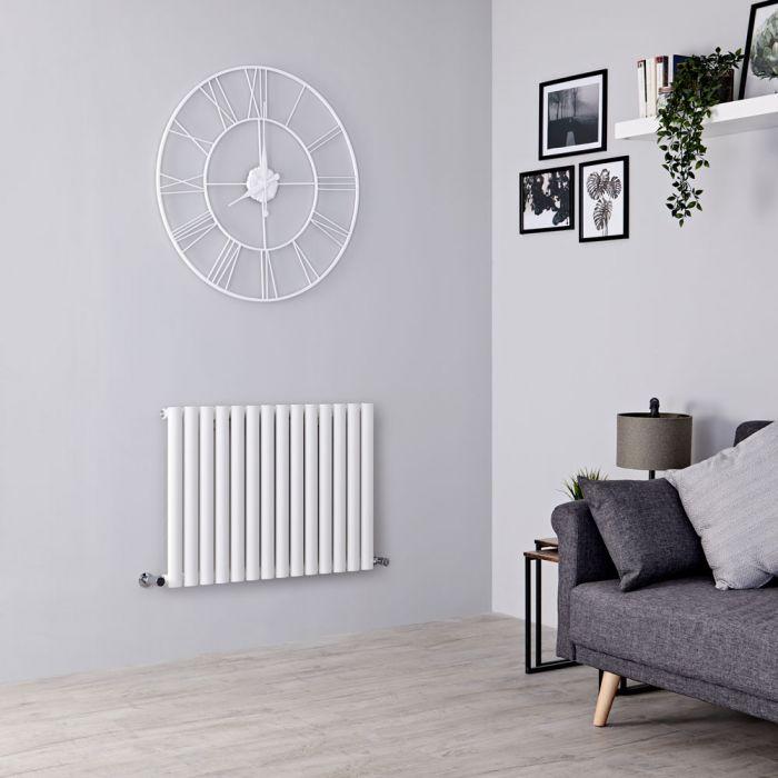 Milano Aruba - Modern White Horizontal Designer Radiator 600mm x 826mm (Single Panel)