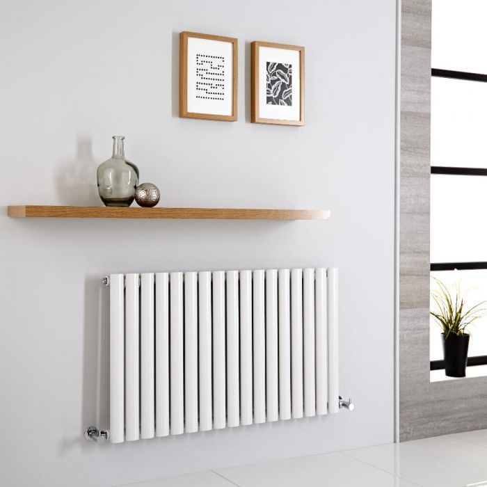 Milano Aruba - Modern White Horizontal Designer Radiator 600mm x 1000mm (Single Panel)