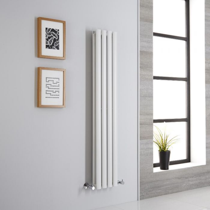 Milano Aruba - Modern White Vertical Designer Radiator 1400mm x 236mm (Double Panel)
