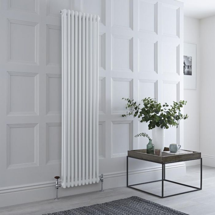 Milano Windsor - Vertical Double Column White Traditional Cast Iron Style Radiator - 1800mm x 470mm