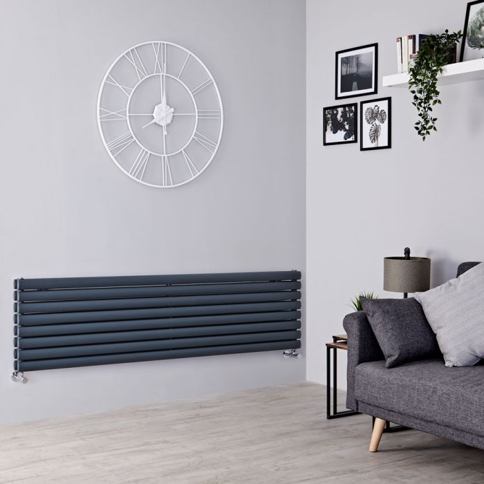 Milano Aruba - Anthracite Horizontal Designer Radiator 472mm x 1600mm (Double Panel)