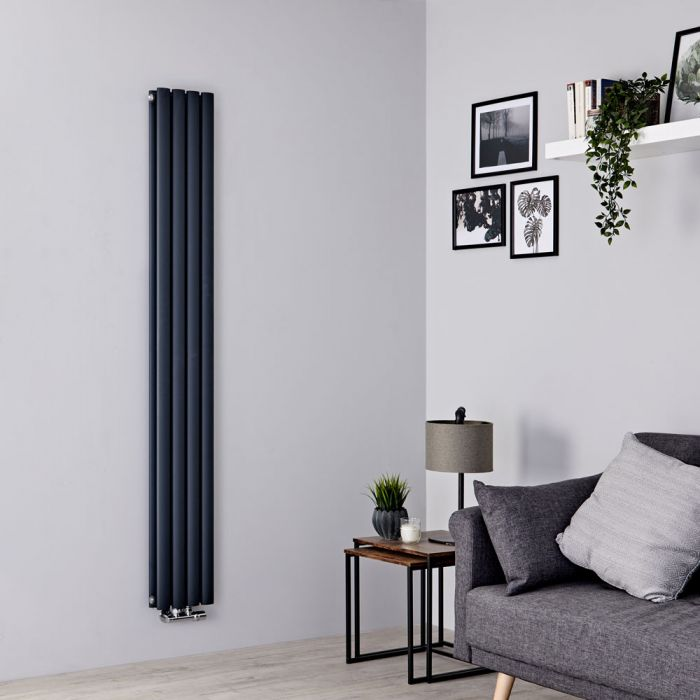 Milano Aruba Flow - Anthracite Vertical Double Panel Middle Connection Designer Radiator 1600mm x 236mm