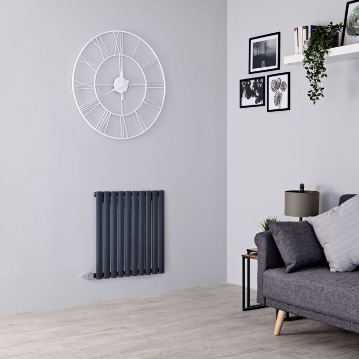 Milano Aruba Electric - Anthracite Horizontal Designer Radiator 635mm x 595mm