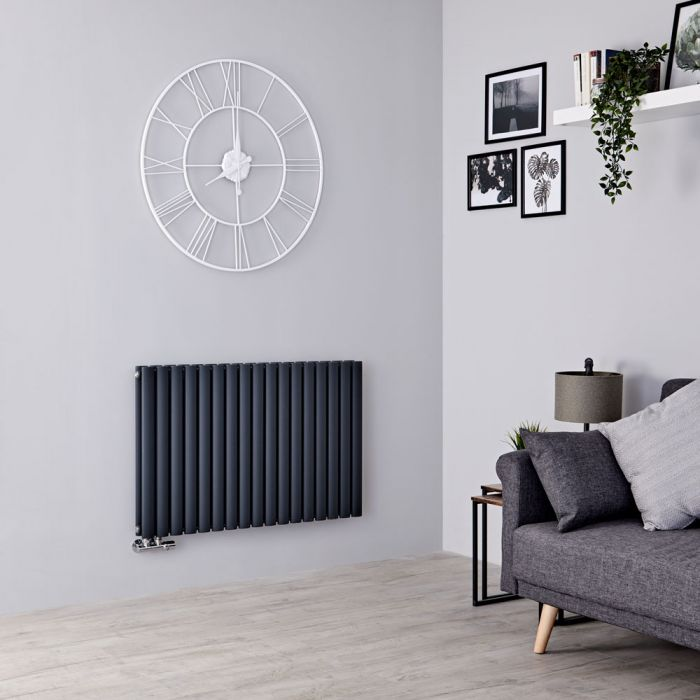 Milano Aruba Flow - Anthracite Horizontal Double Panel Middle Connection Designer Radiator 635mm x 1000mm