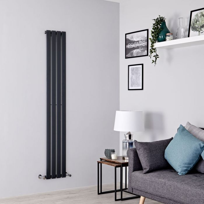 Milano Alpha - Anthracite Vertical Single Slim Panel Designer Radiator 1600mm x 280mm