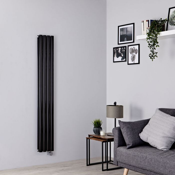 Milano Aruba Slim Electric - Black Space-Saving Vertical Designer Radiator 1600mm x 236mm (Double Panel)