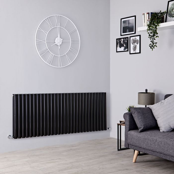 Milano Aruba - Black Horizontal Designer Double Radiator 635mm x 1647mm