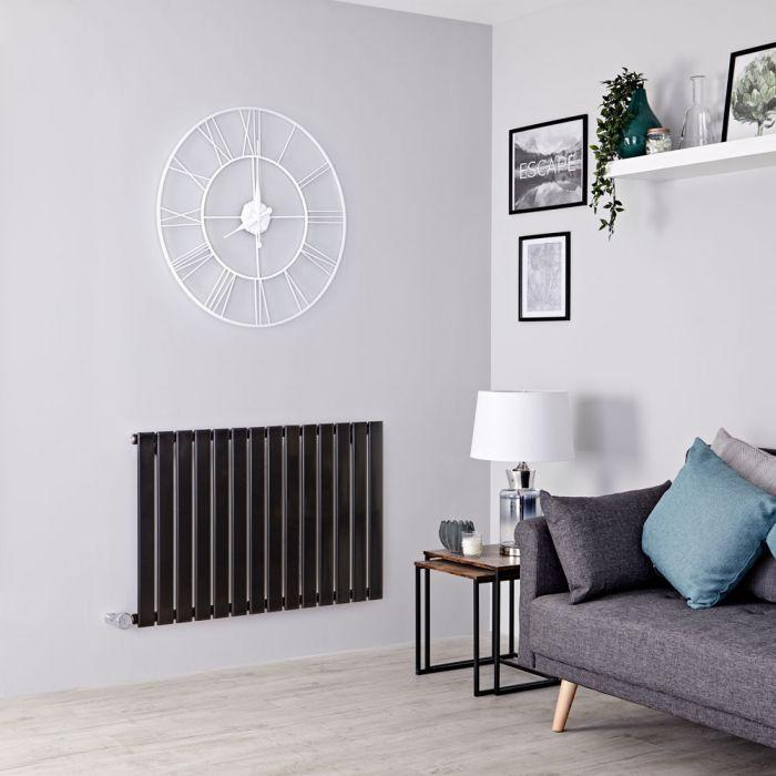 Milano Alpha Electric - Black Horizontal Single Slim Panel Designer Radiator 635mm x 980mm