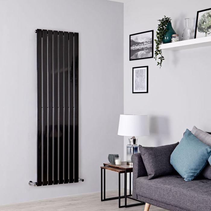Milano Alpha - Black Vertical Single Designer Radiator 1600mm x 560mm