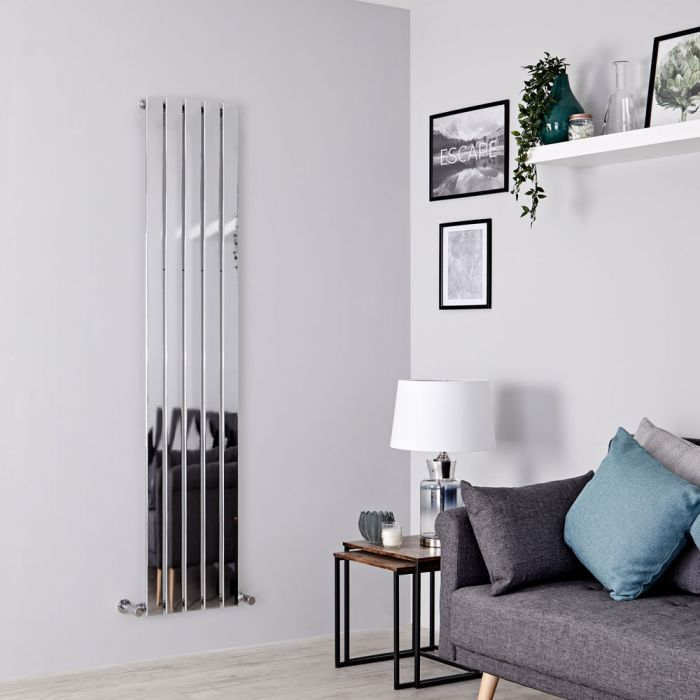 Milano Alpha - Chrome Vertical Slim Panel Designer Radiator 1600mm x 375mm